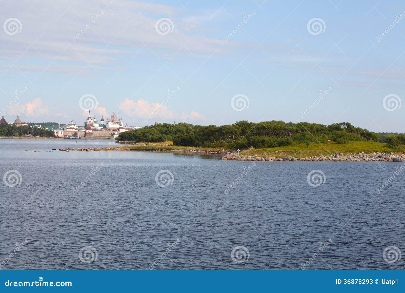 Download Paesaggio Con L'immagine Del Monastero Di Solovetsky Immagine Stock - Immagine di famoso, castello: 36878293