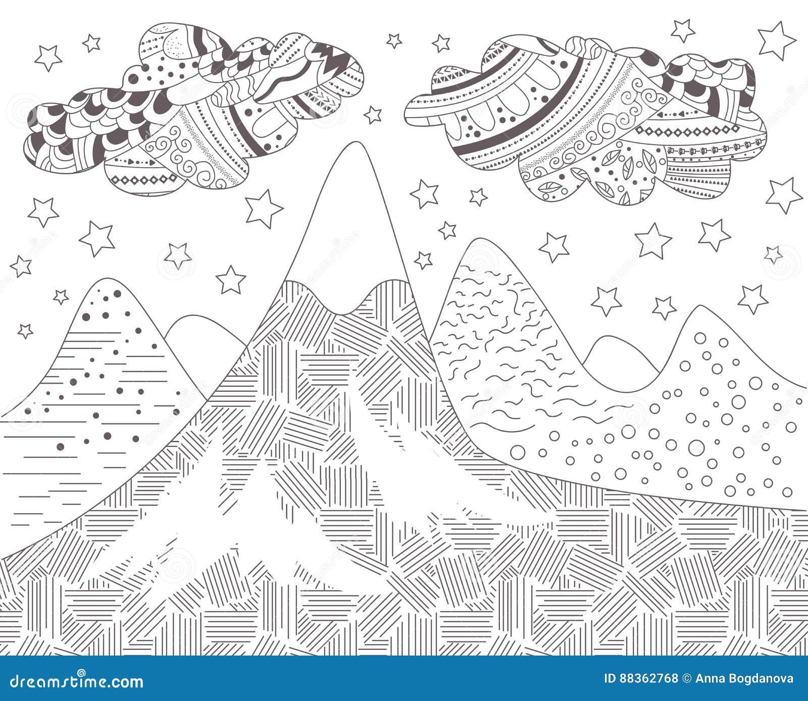 Paesaggio Con Le Montagne Illustrazione Vettoriale Illustrazione Di
