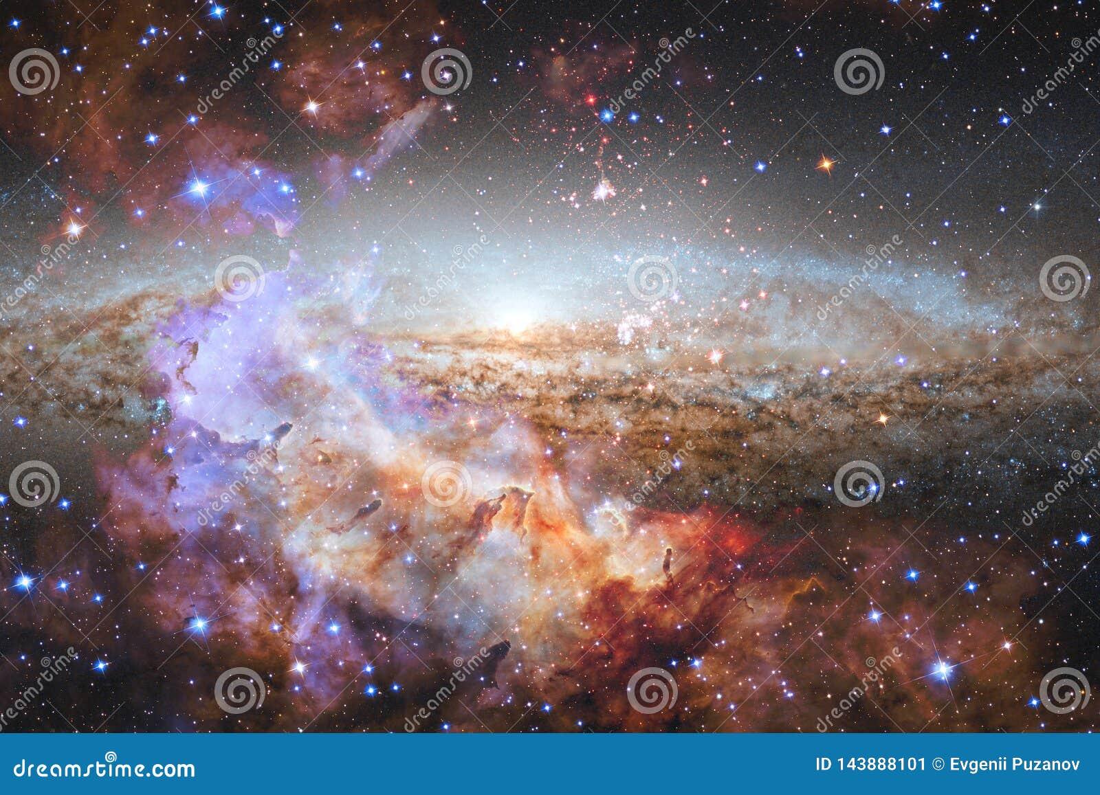 Paesaggio cosmico, carta da parati variopinta della fantascienza con spazio cosmico senza fine