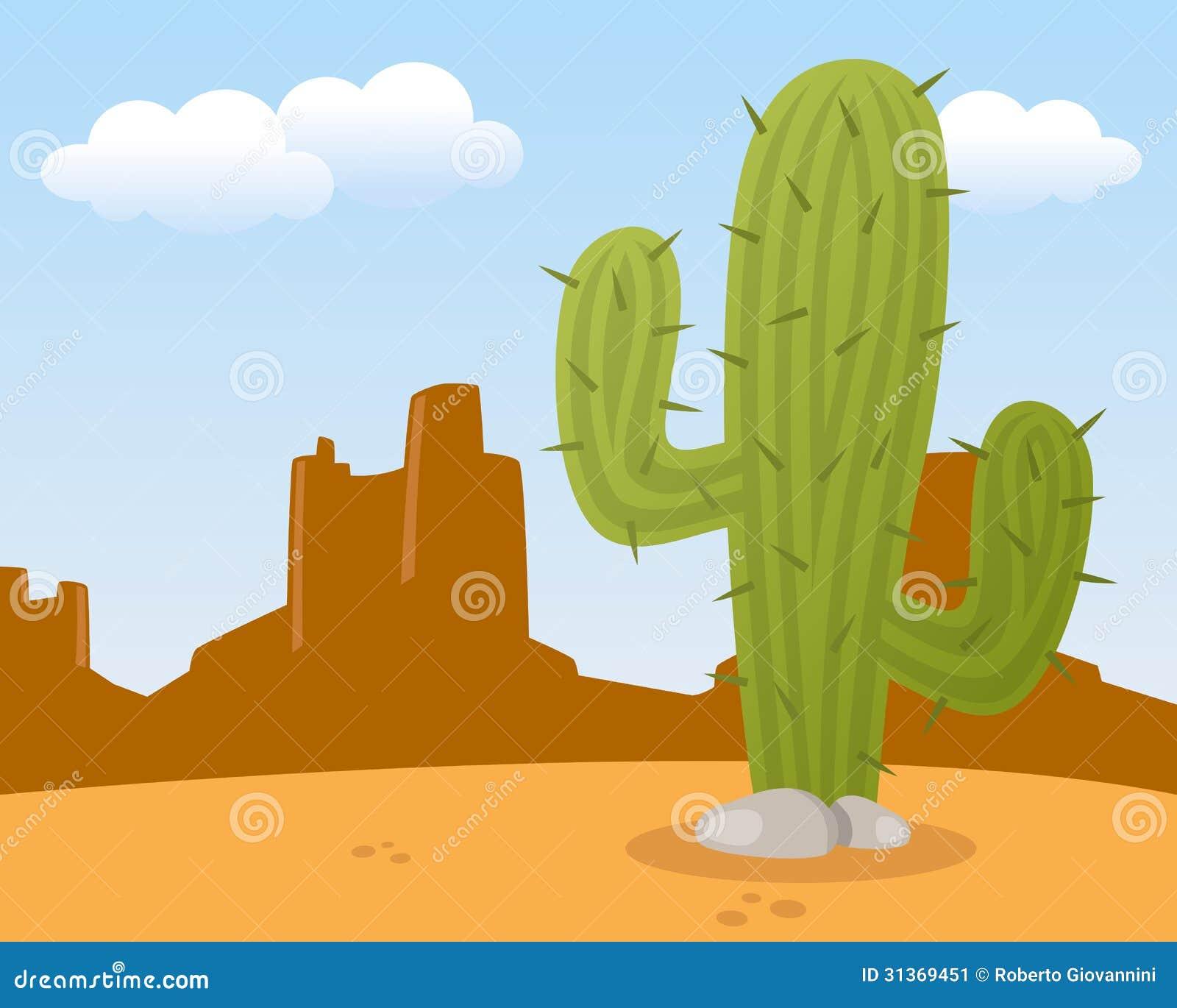 Paesaggio Del Deserto Con Il Cactus Immagine Stock - Immagine ...