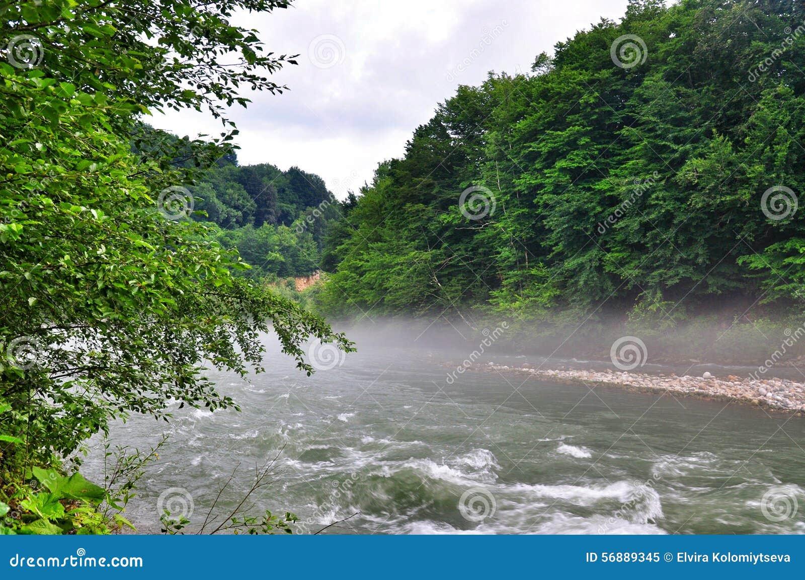 Paesaggio del fiume veloce Malaya Laba
