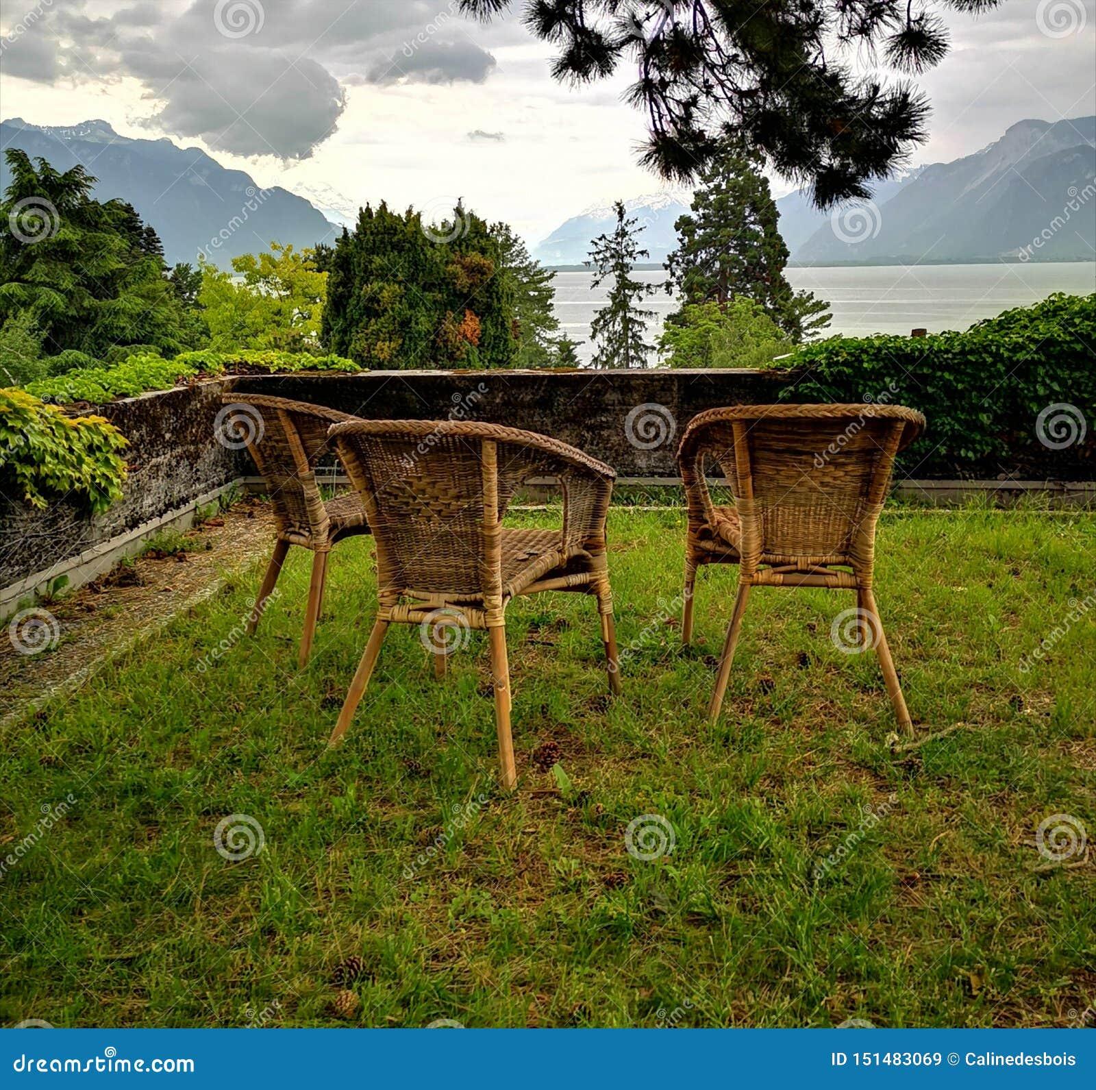 Paesaggio del lago Lemano e delle alpi svizzere