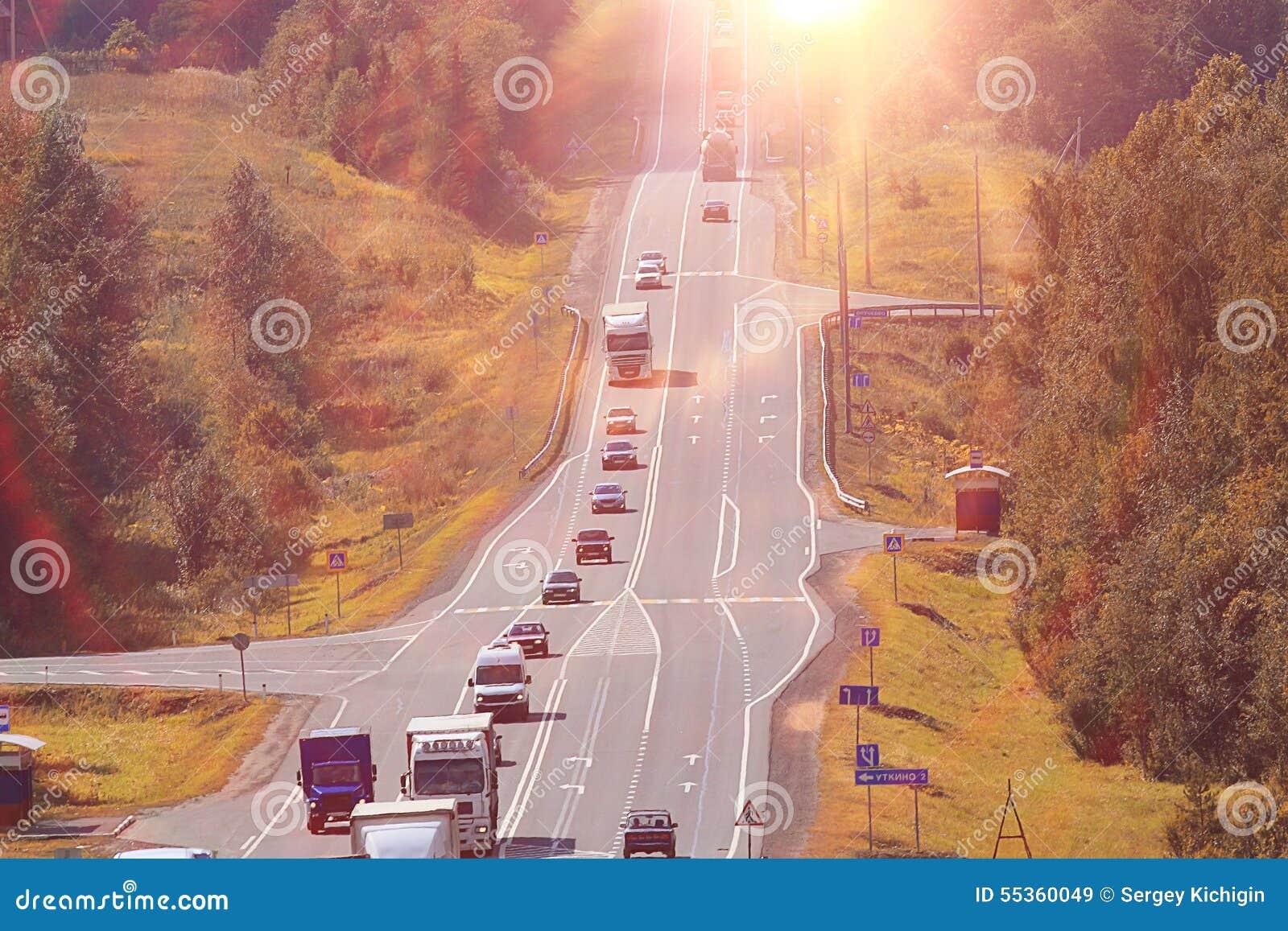 Paesaggio del sole della strada
