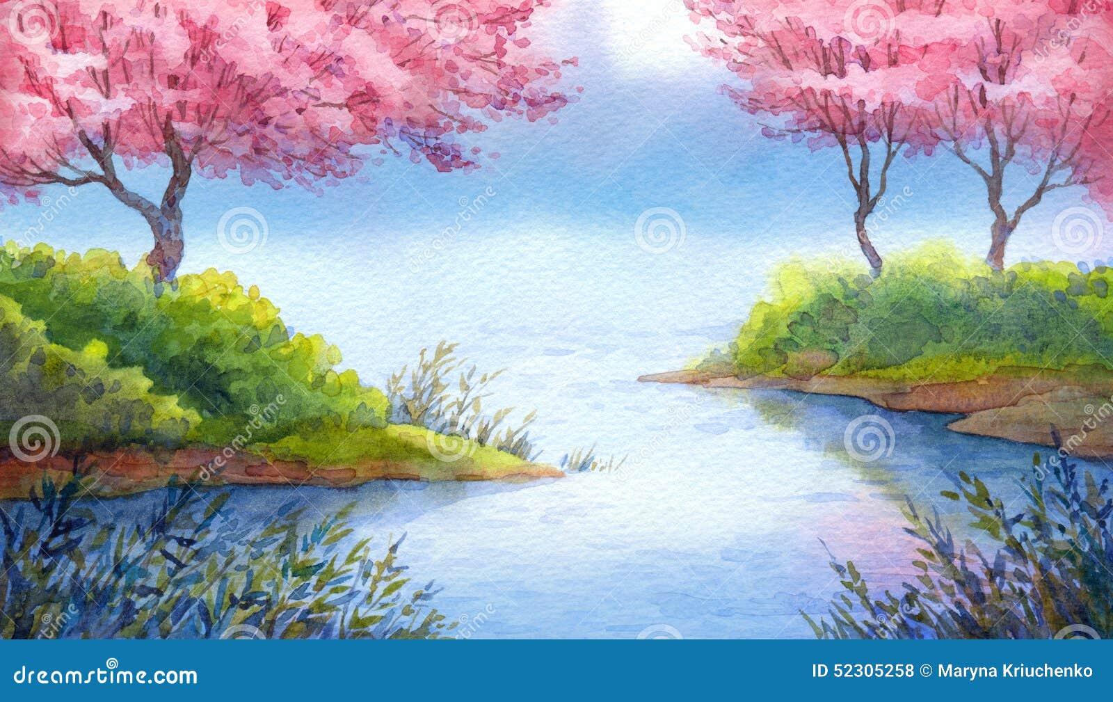 Paesaggio dell 39 acquerello della primavera alberi di for Lago disegno