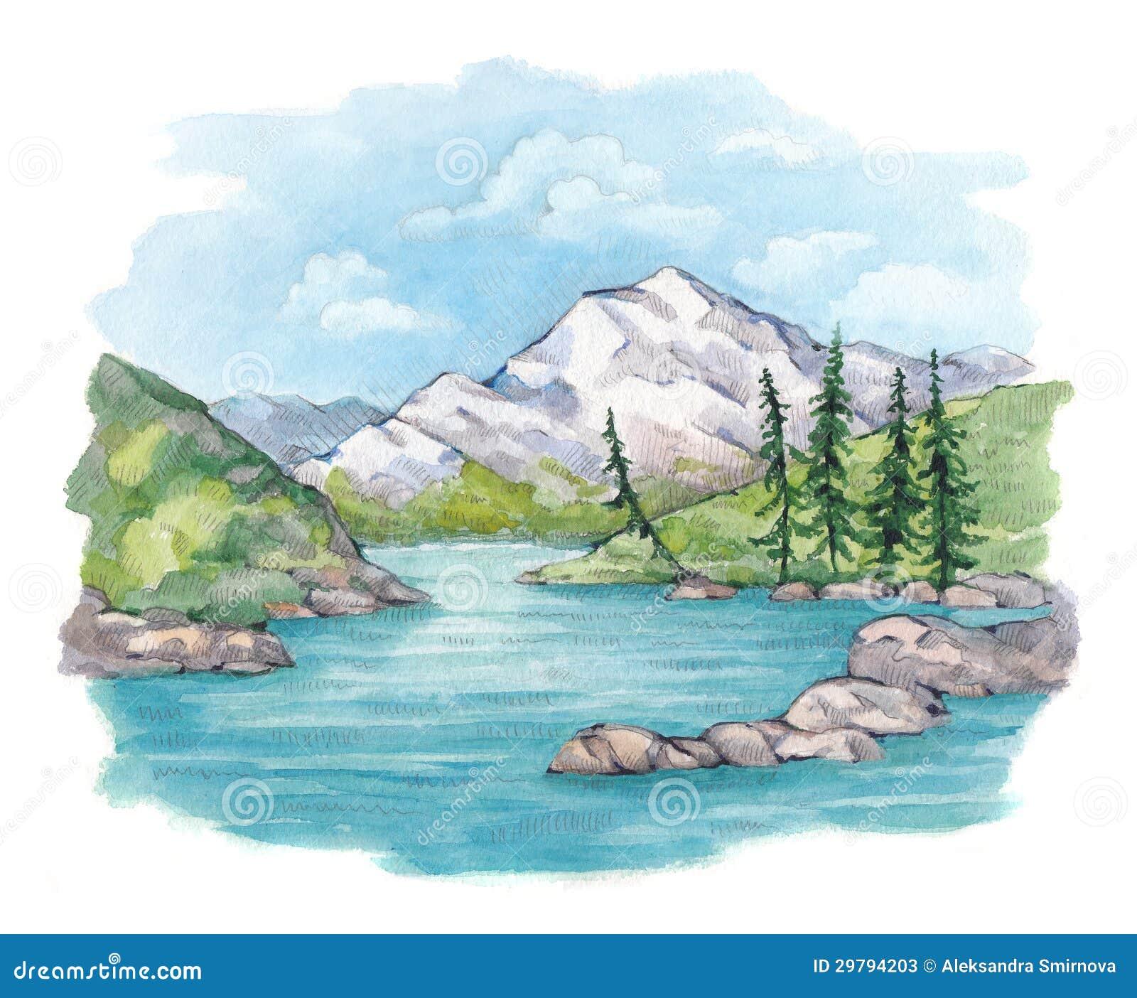Illustrazione dell 39 acquerello del lago e delle montagne for Lago disegno