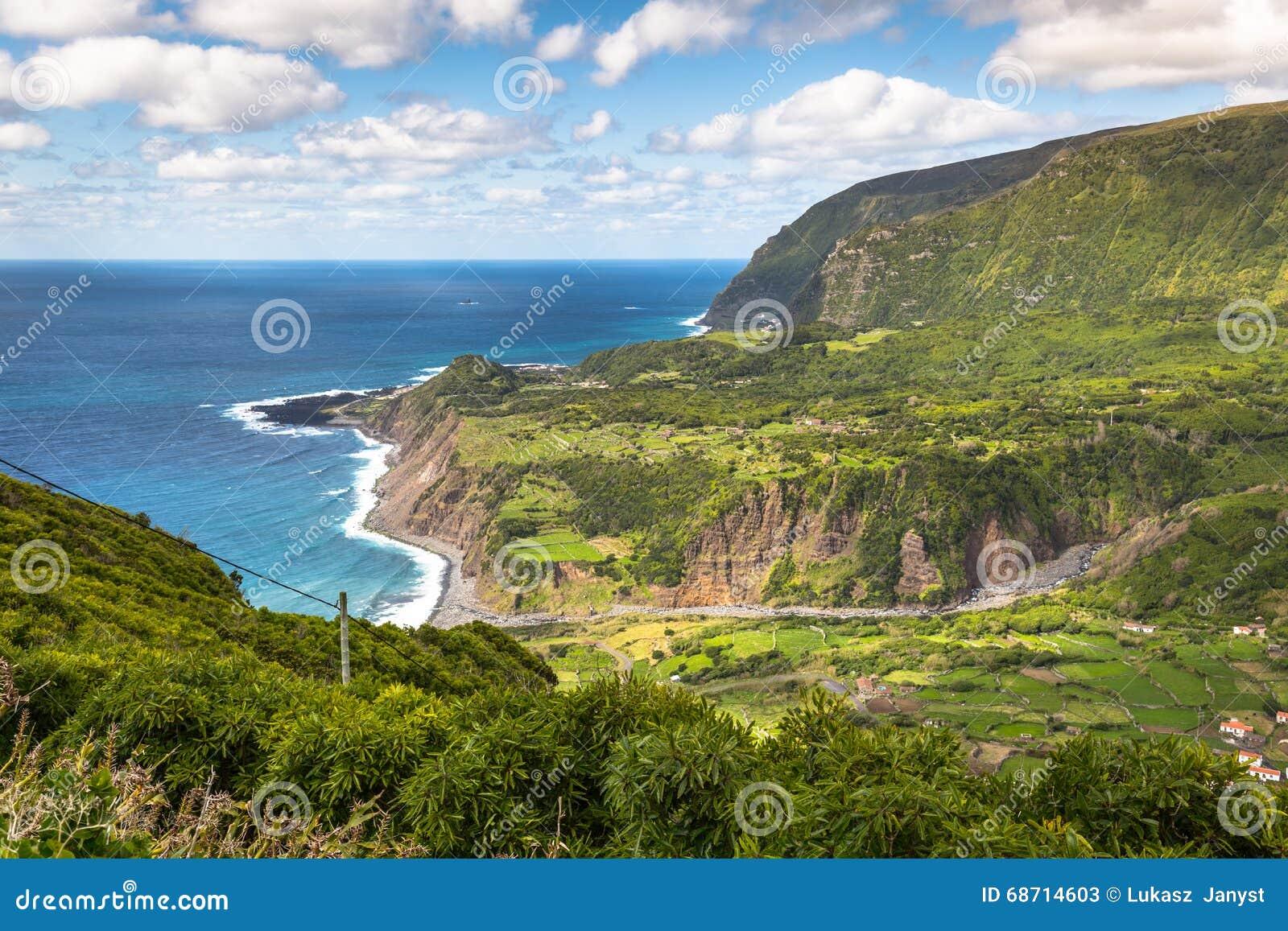 Paesaggio della linea costiera delle Azzorre in Faja grande, isola del Flores Portug