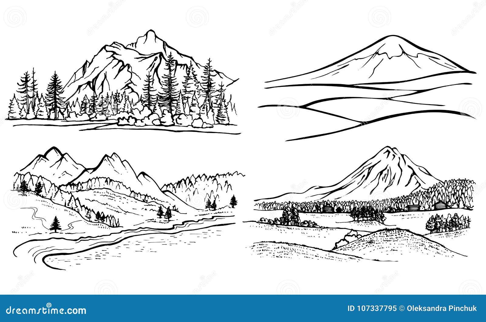 Paesaggio della montagna del disegno a matita pini della - Immagini da colorare delle montagne ...