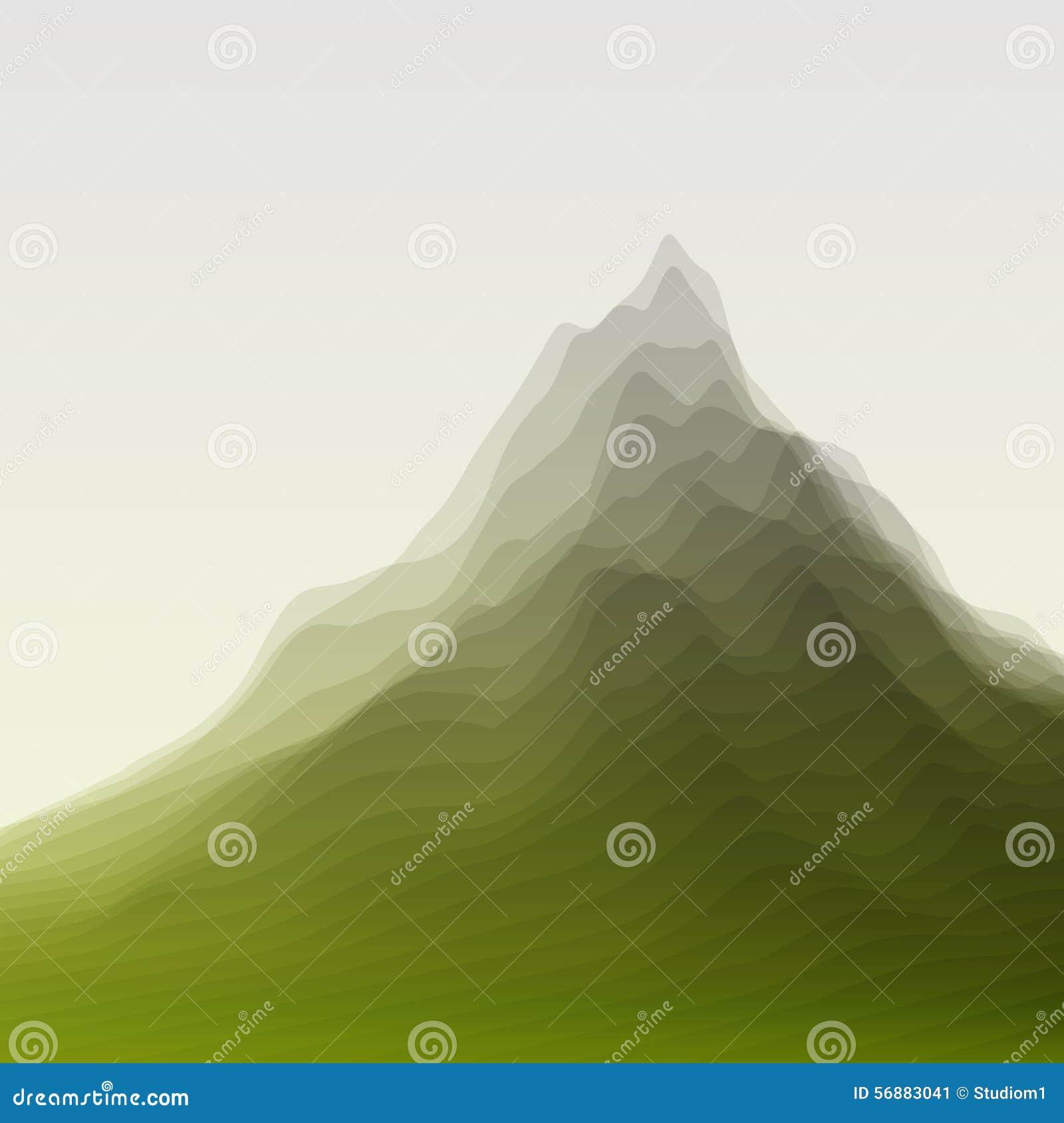Paesaggio della montagna Siluette di vettore di