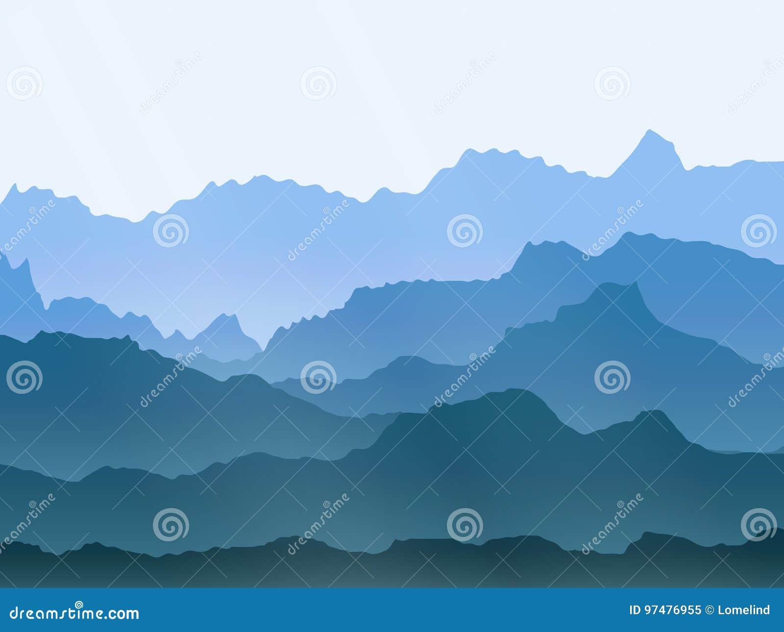 Paesaggio delle montagne nebbiose dell acquerello di vettore