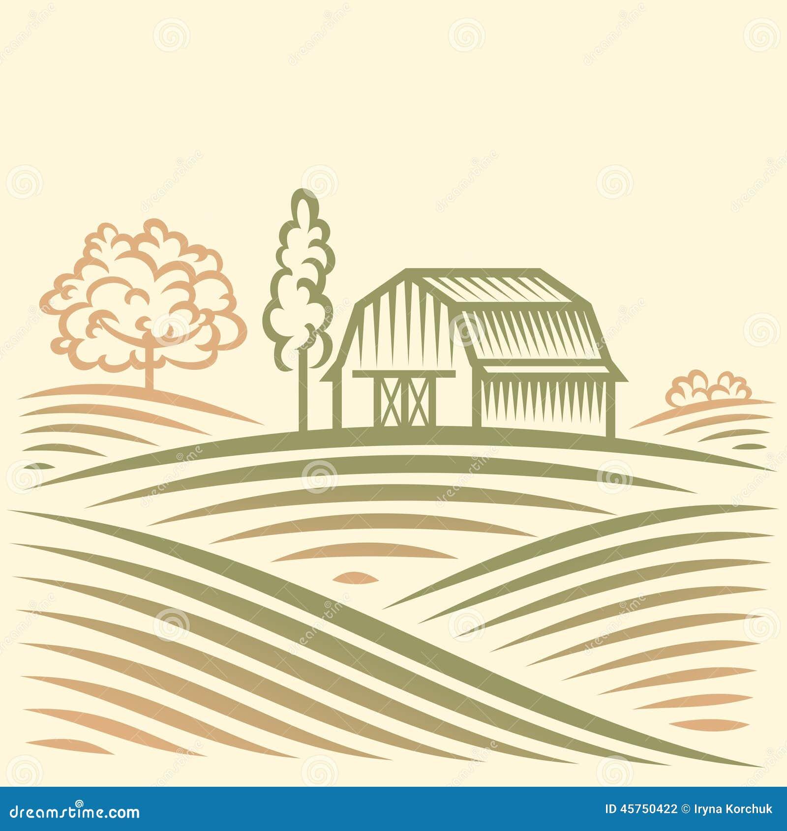 Paesaggio di agricoltura con il granaio e gli alberi