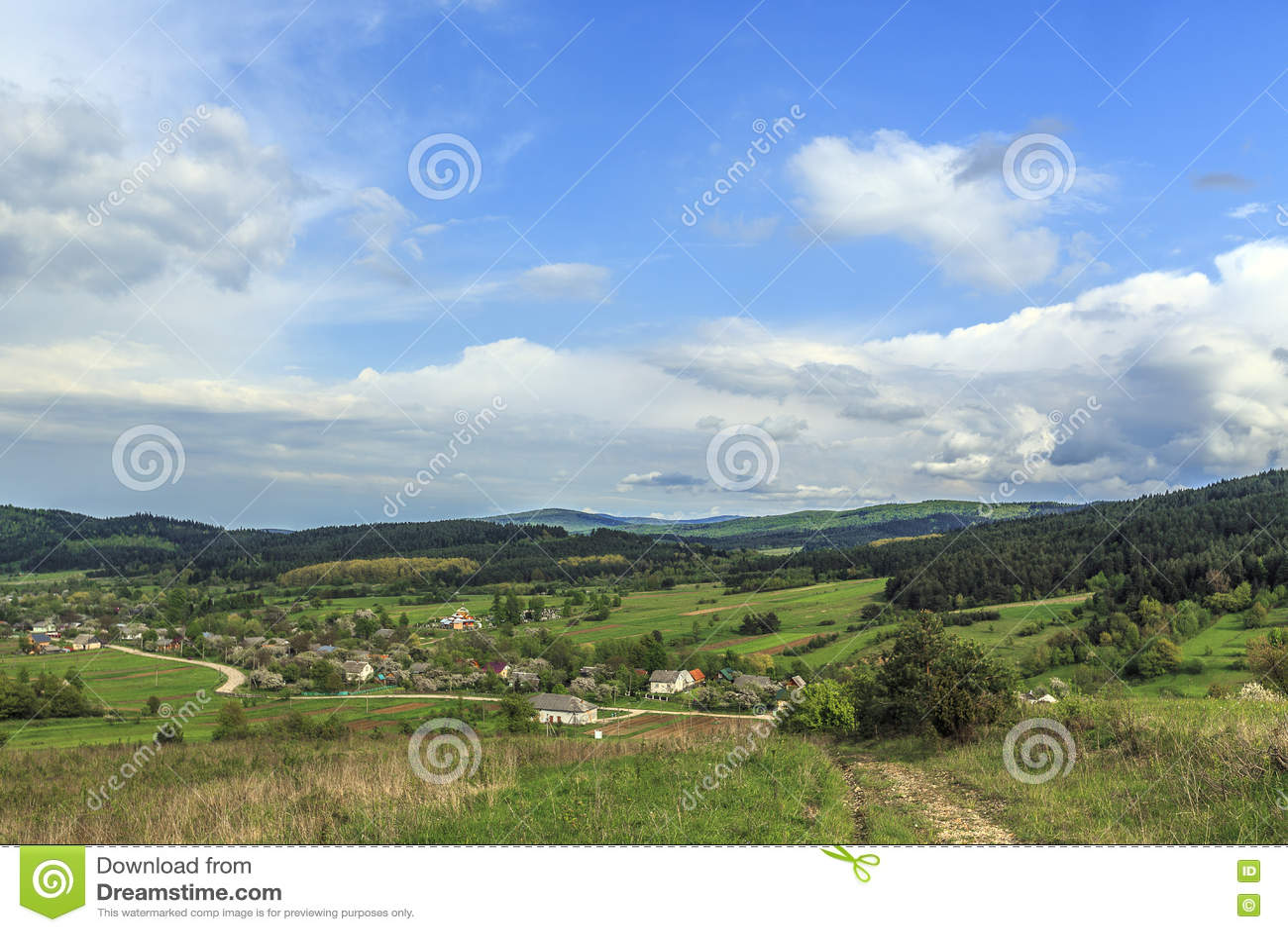 Paesaggio di estate della montagna fotografia stock for Case di campagna della collina del texas