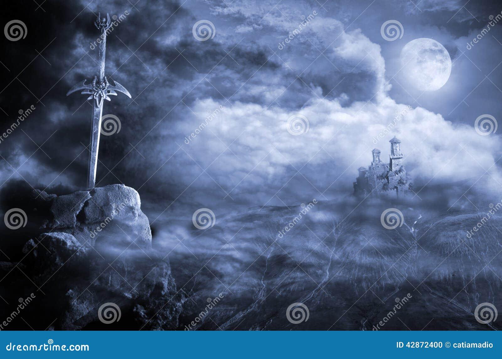 Paesaggio di fantasia con la spada