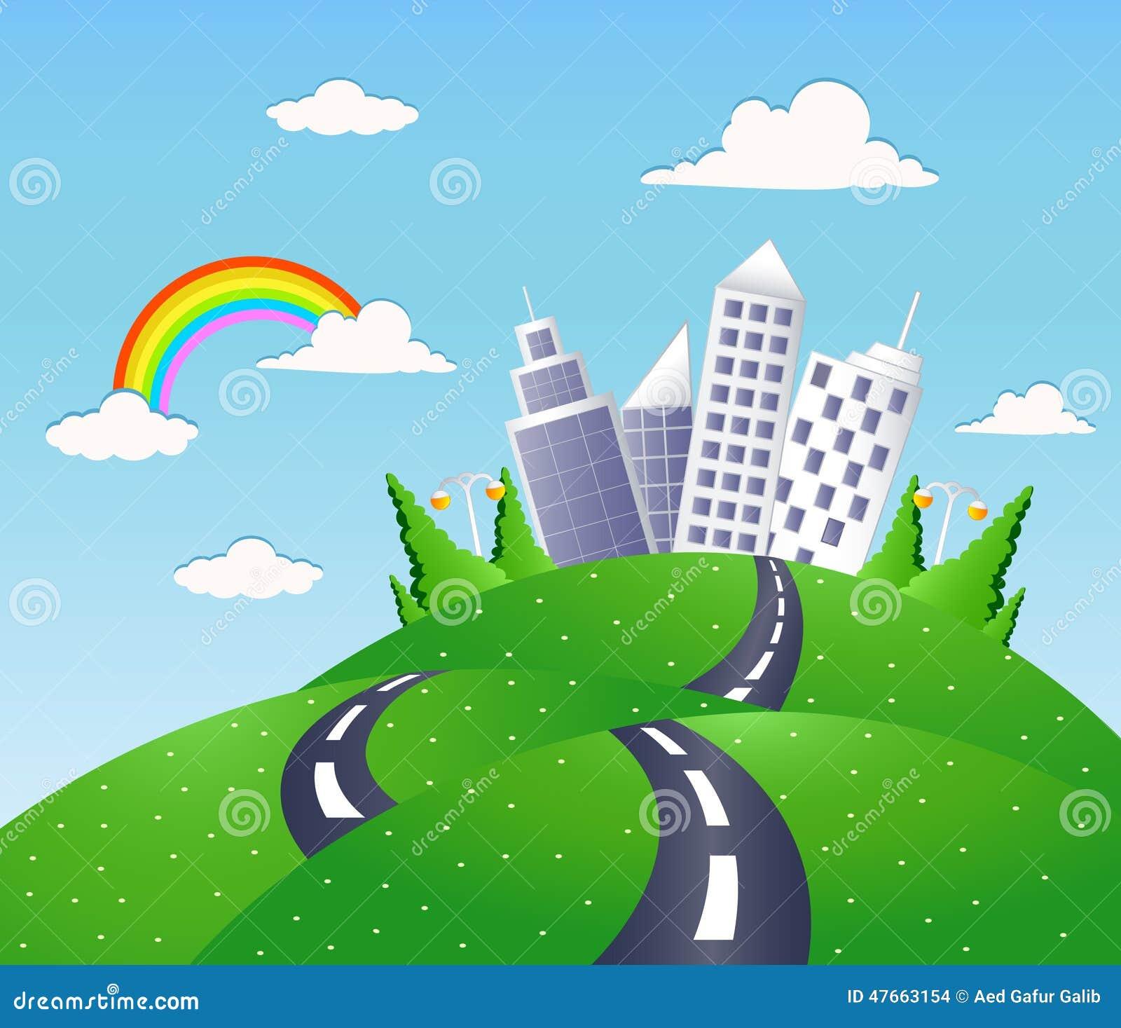 Paesaggio di fantasia con la strada