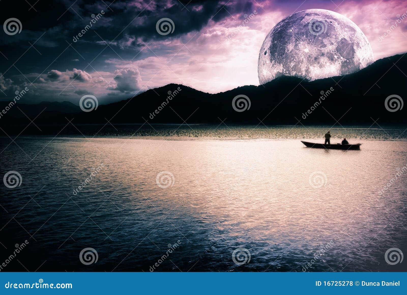 Paesaggio di fantasia - luna, lago e barca