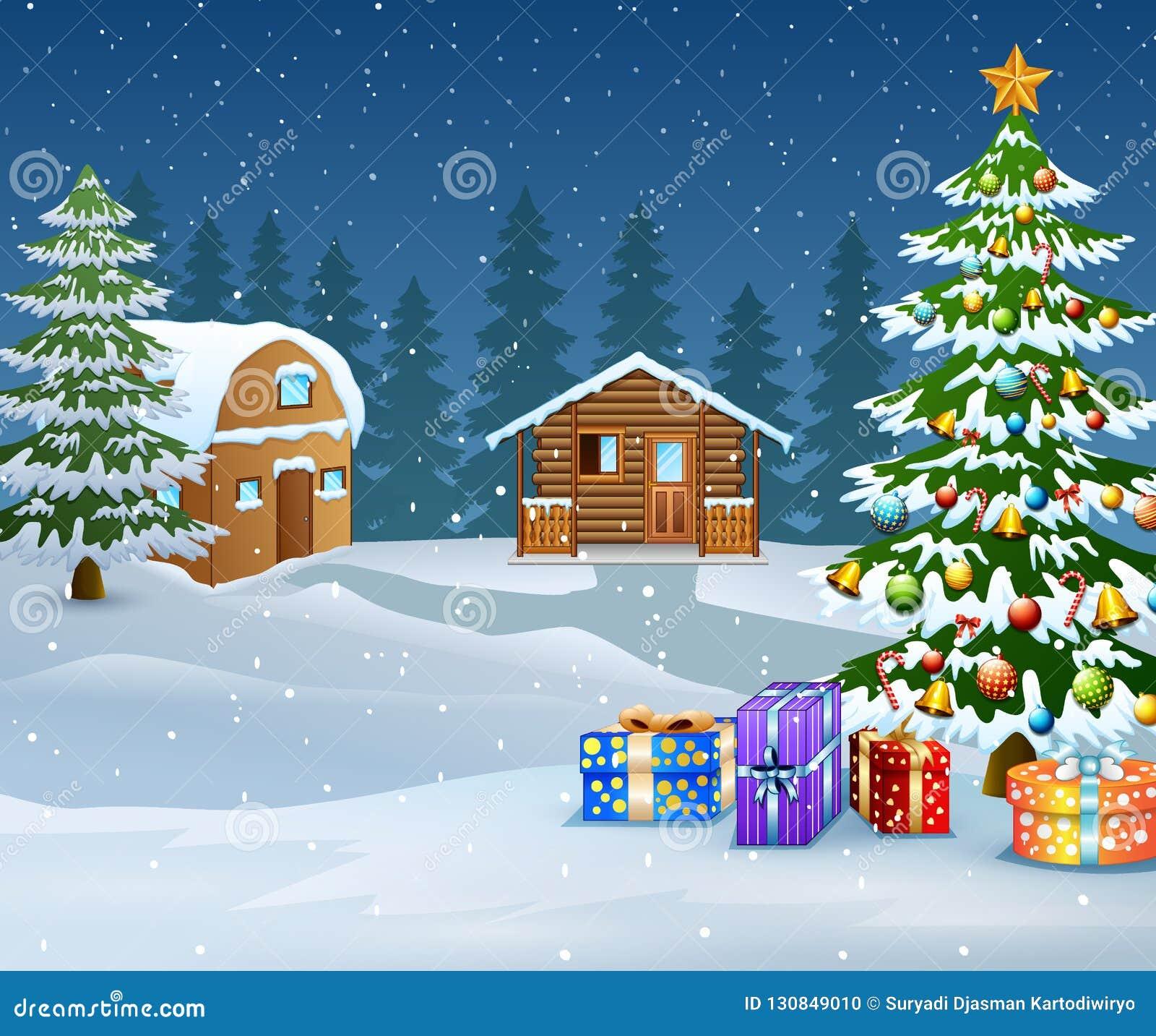 Paesaggio di inverno con la casa della neve e l albero di Natale di legno