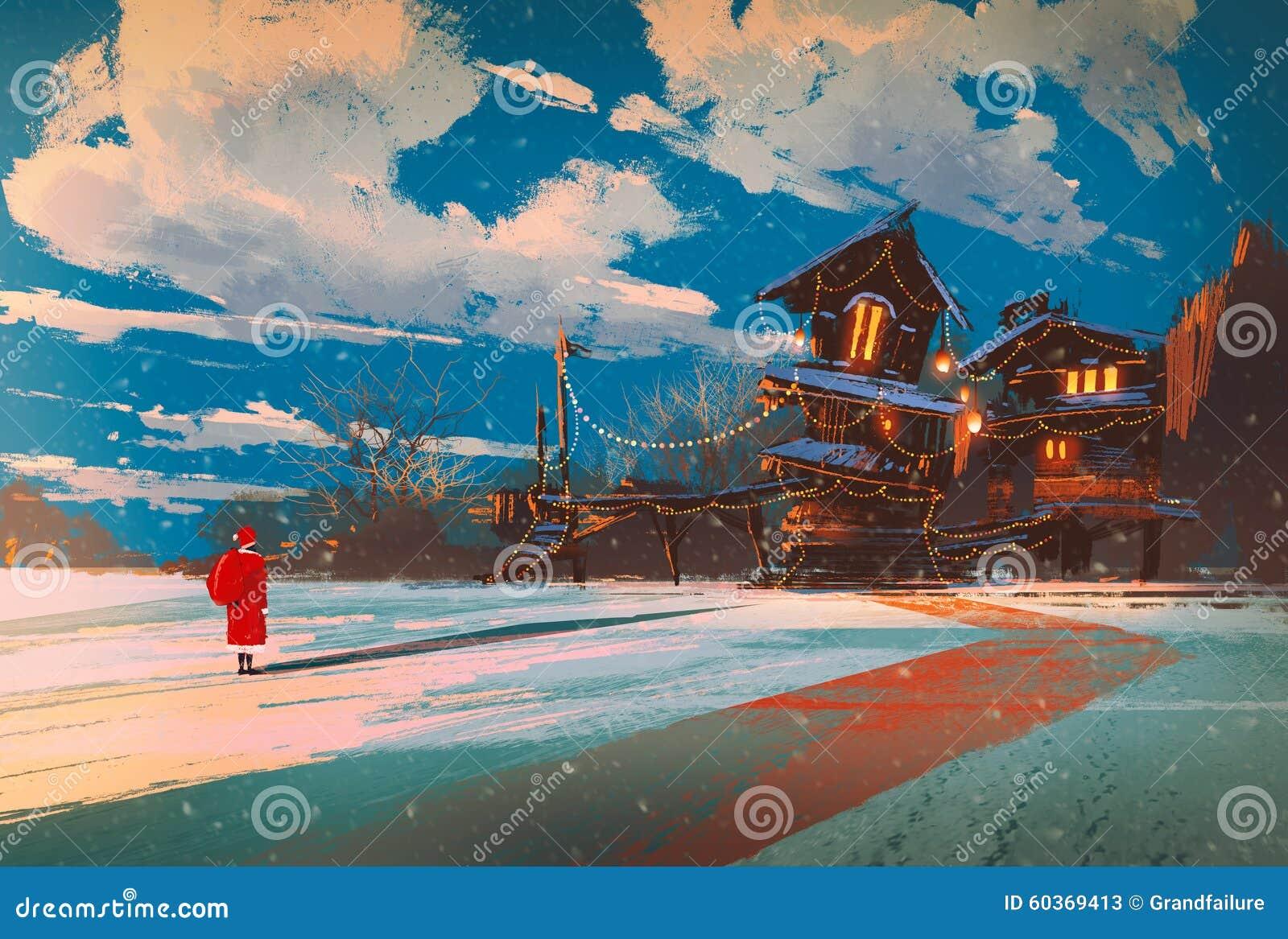 Paesaggio di inverno con la casa di legno alla notte di Natale