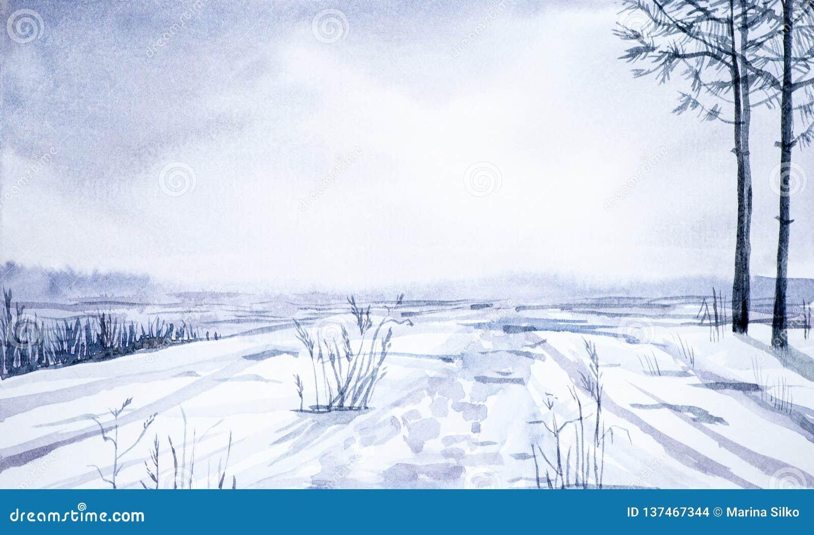 Paesaggio di inverno della foresta e del campo nevoso Illustrazione disegnata a mano dell acquerello