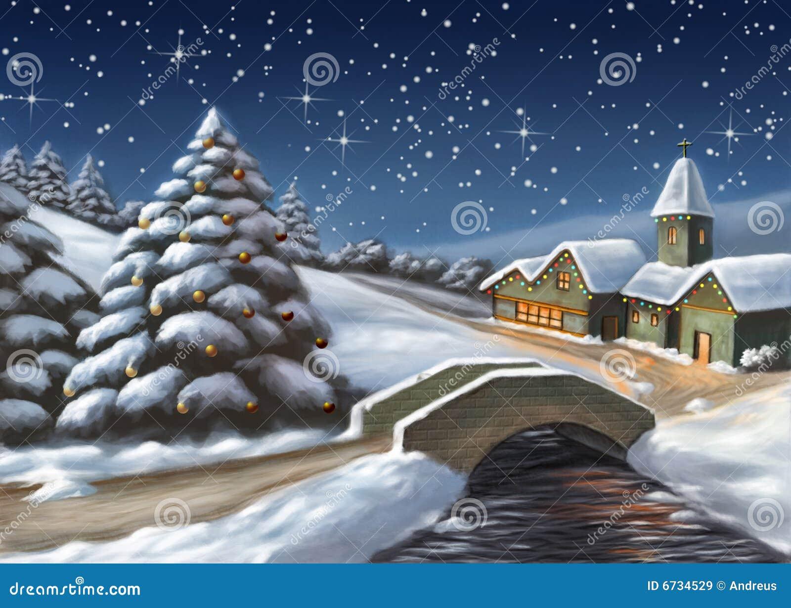 Paesaggi Di Natale.Paesaggio Di Natale Illustrazione Di Stock Illustrazione Di