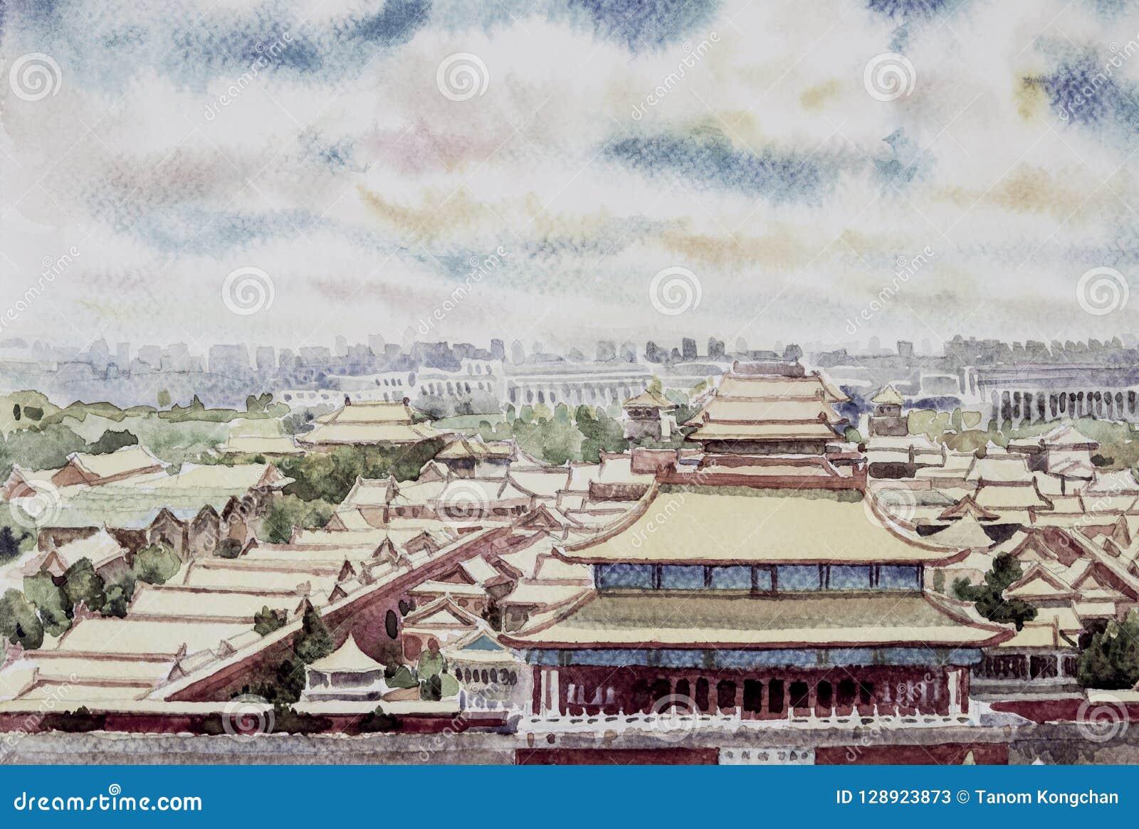 Paesaggio Di Pechino La Città Proibita In Cina Illustrazione di Stock -  Illustrazione di arte, asia: 128923873