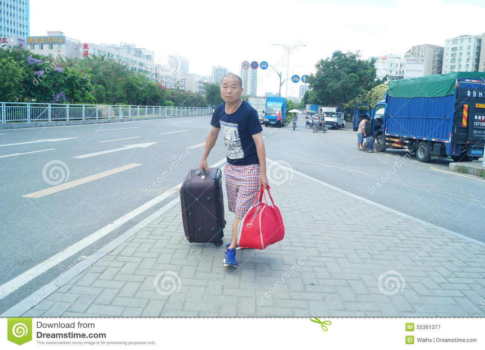 Paesaggio di traffico urbano, a Shenzhen, la Cina