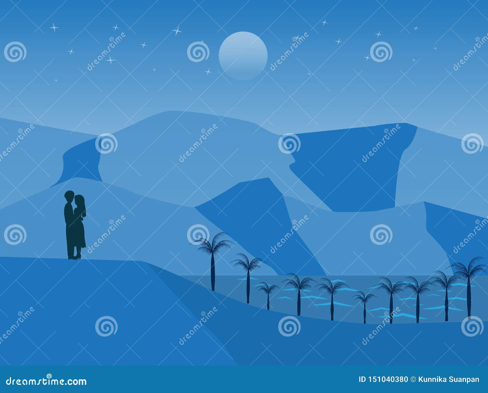Paesaggio di vettore con le coppie che stanno sulla collina