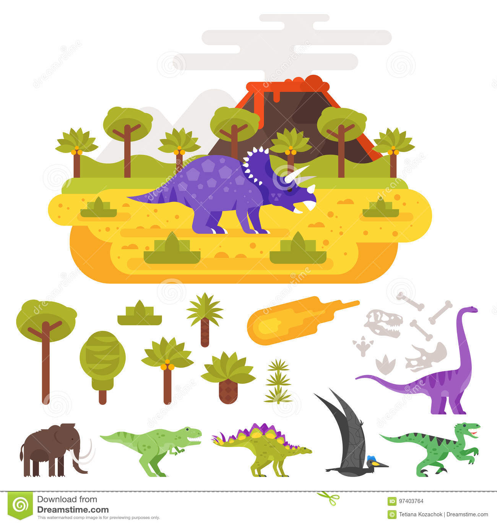 Paesaggio e vulcano preistorici con i dinosauri