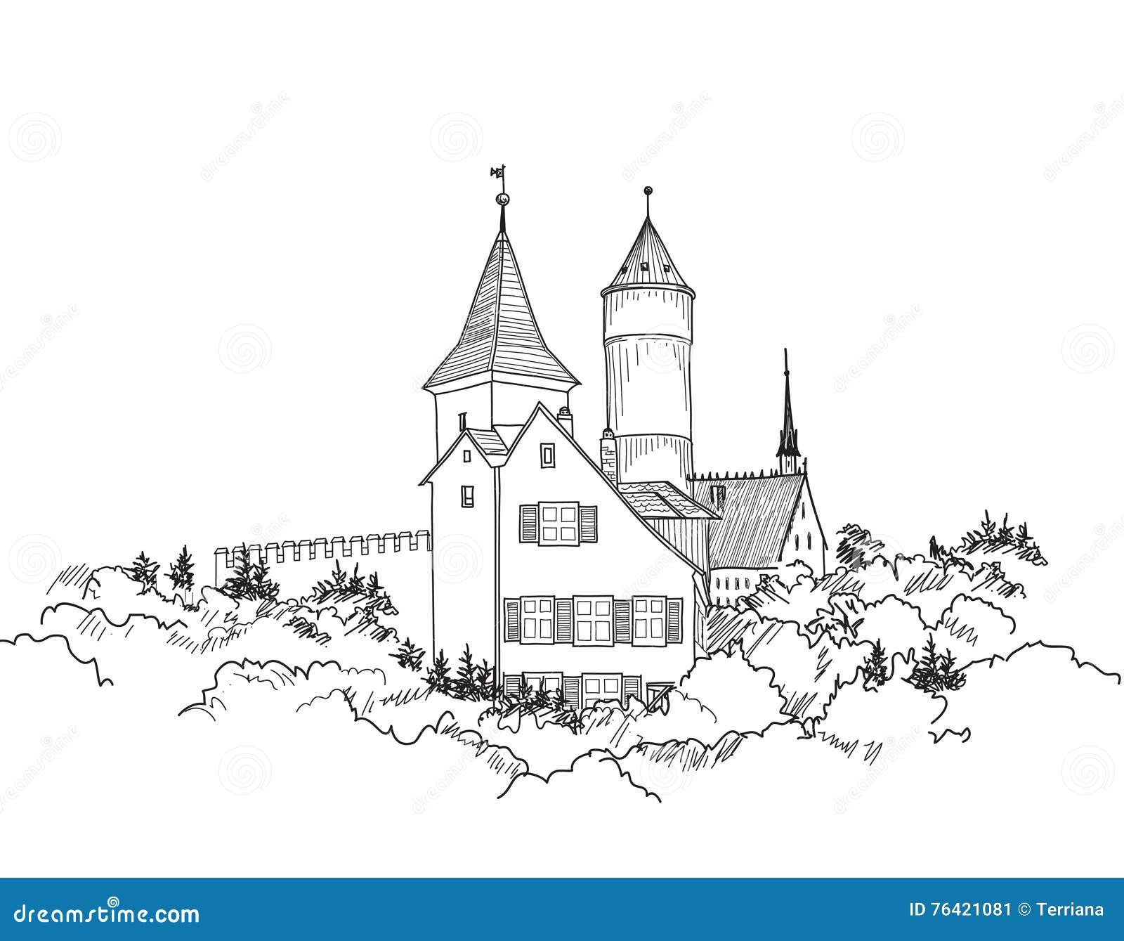 Estremamente Paesaggio Europeo Medievale Del Castello Disegni A Matita Lo  JJ41