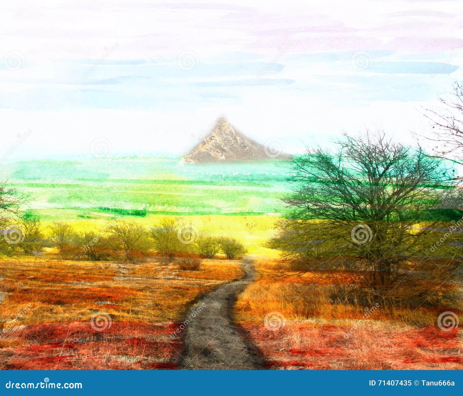 Paesaggio fantastico dell acquerello, la strada alla cima,