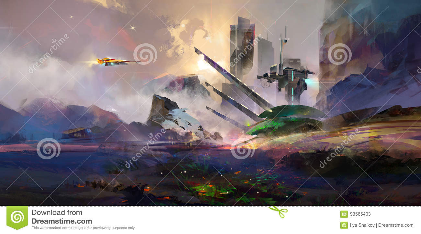 Paesaggio fantastico dipinto luminoso del futuro
