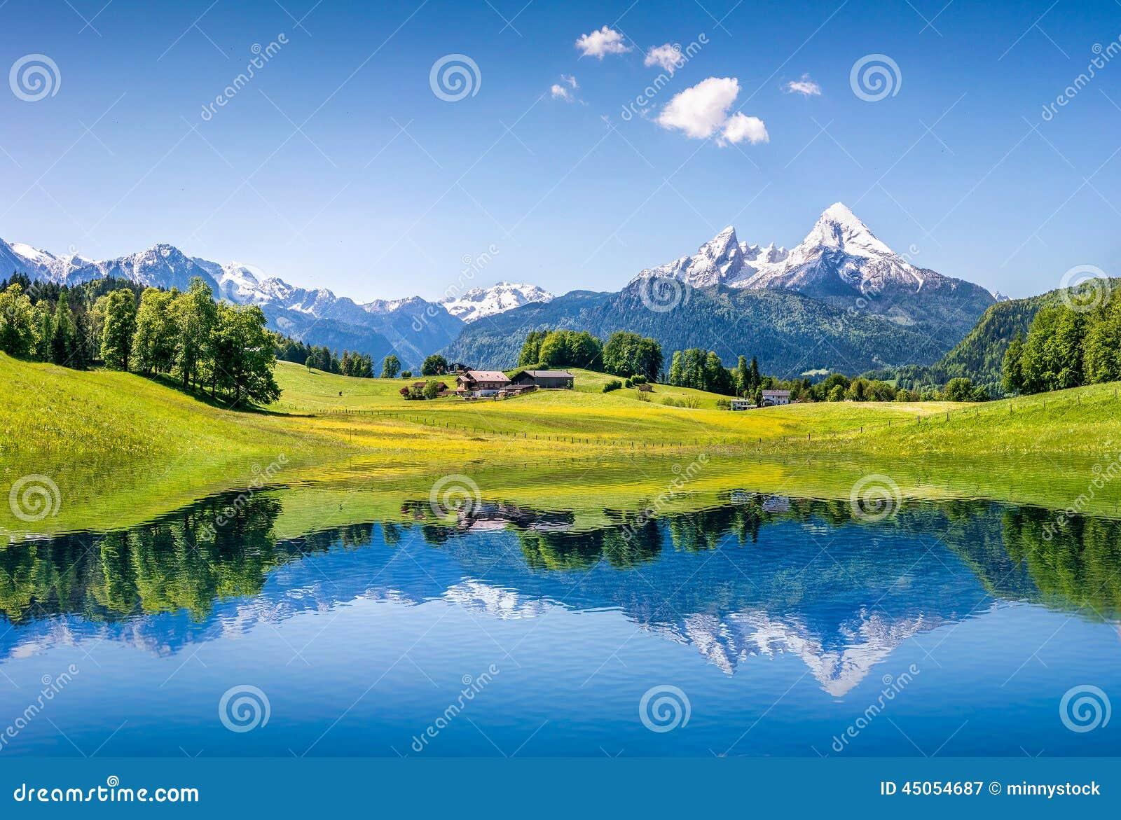 Paesaggio idilliaco di estate con il chiaro lago della montagna nelle alpi