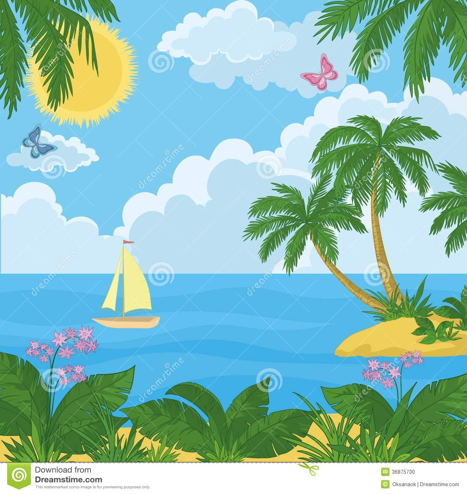 Download Paesaggio: Isola Con Le Palme E La Nave Illustrazione Vettoriale - Illustrazione di isola, pianta: 36875730
