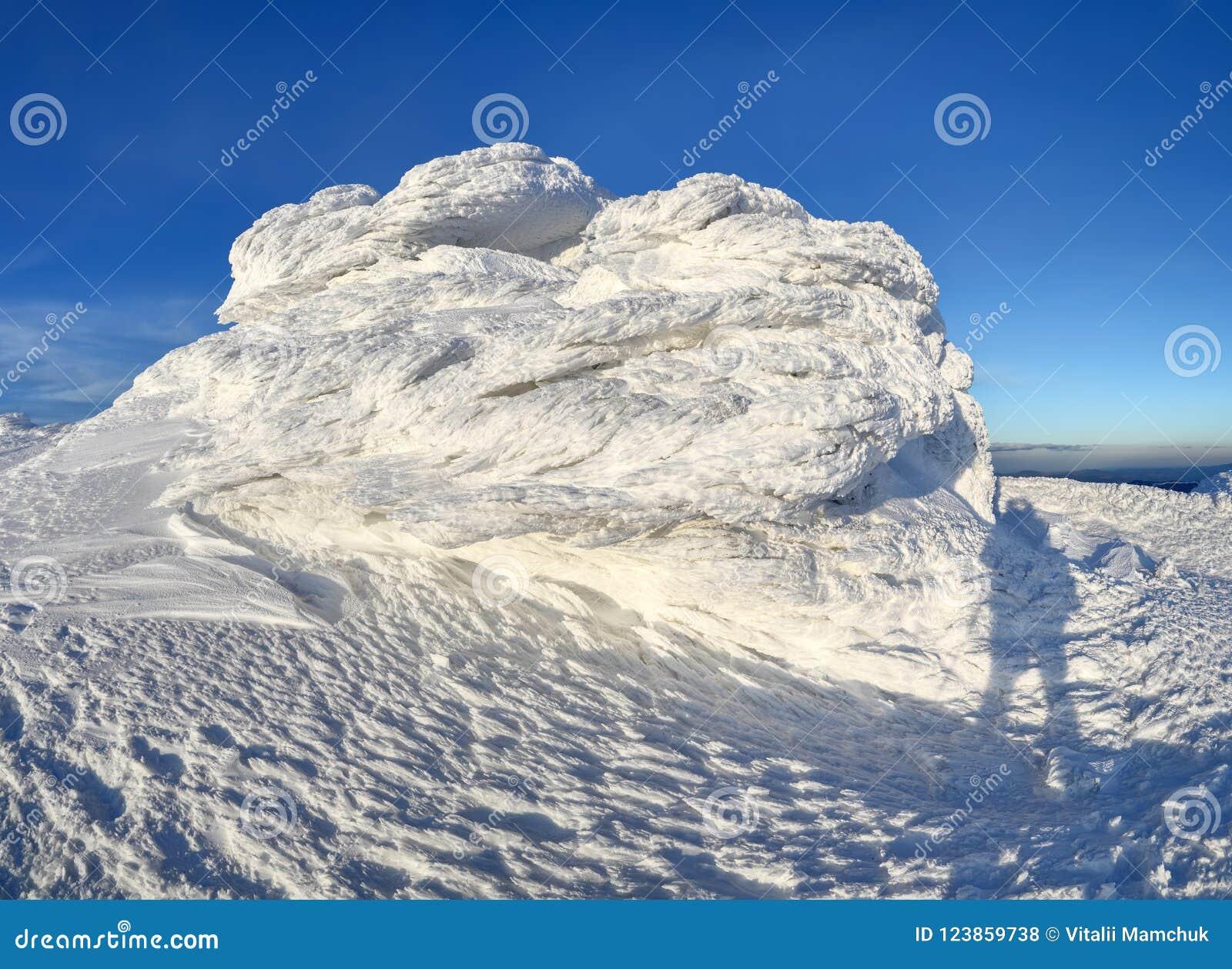 Paesaggio meraviglioso di inverno un giorno soleggiato Struttura irreale, fantastica, mistica, congelata con gelo, ghiaccio e nev