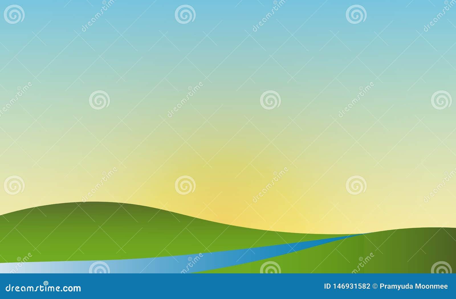 Paesaggio naturale di vettore del cielo della radura del paesaggio di estate