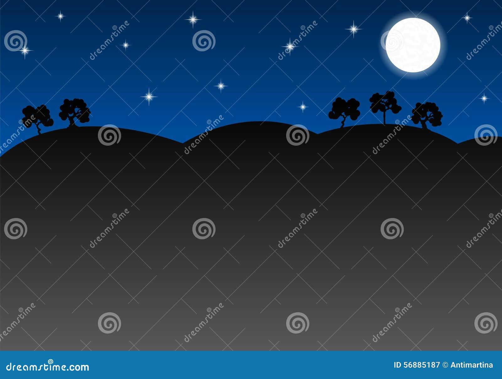 Paesaggio notturno come fondo con lo spazio della copia