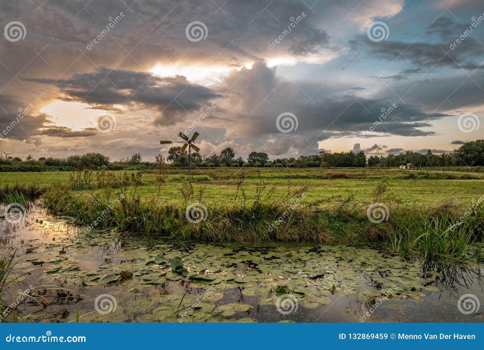 Paesaggio olandese del ploder con il mulino a vento vicino alla città di gouda, Paesi Bassi