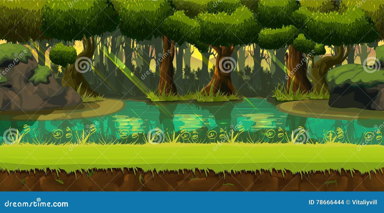 Paesaggio senza cuciture della foresta della molla, fondo senza fine della natura di vettore con gli strati separati per progetta