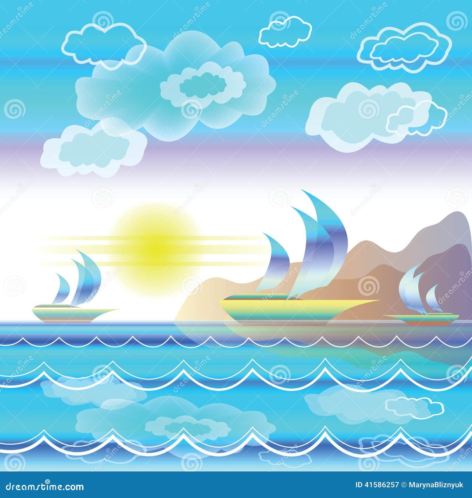 Paesaggio stilizzato del mare con le barche a vela for Disegno paesaggio marino