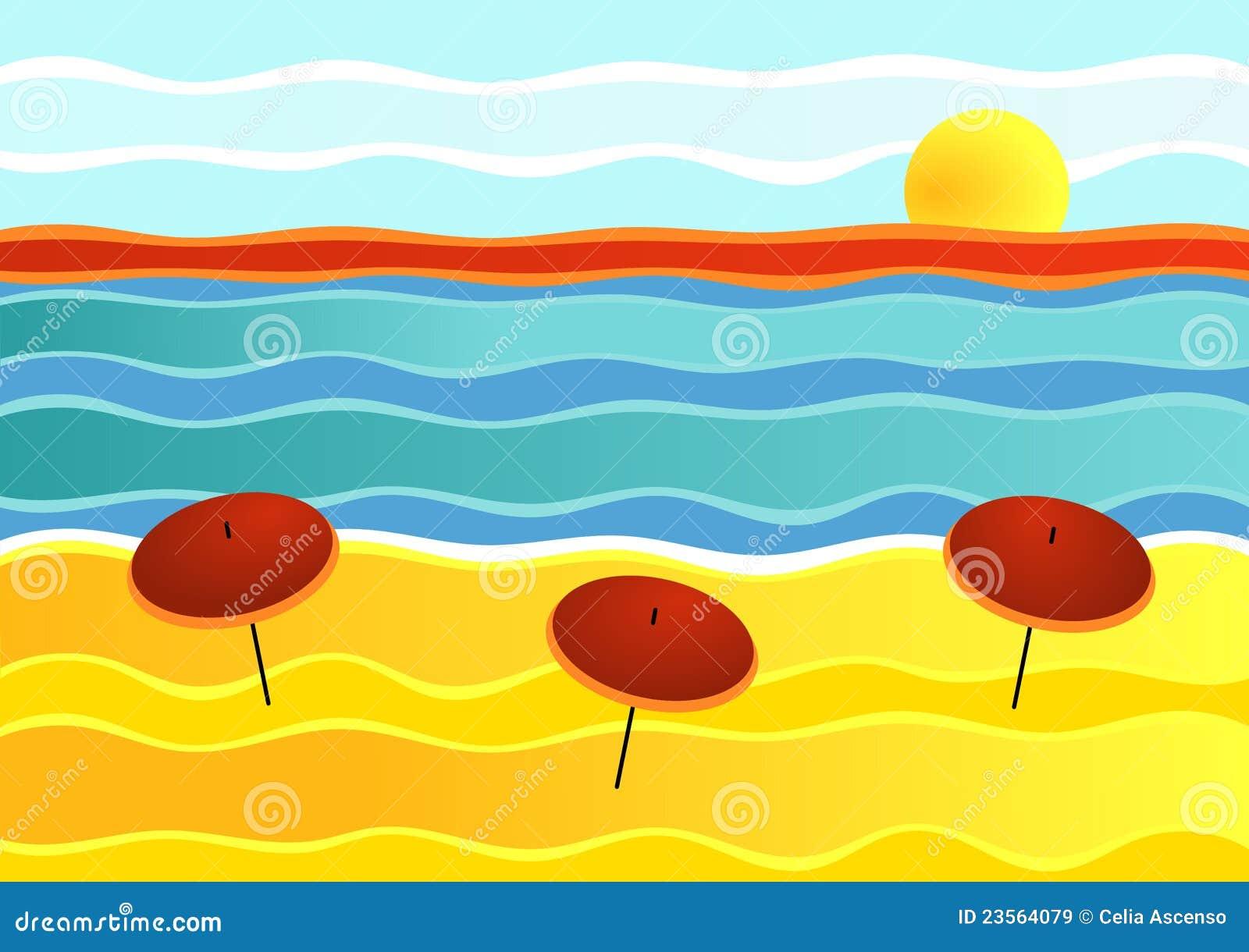 Paesaggio a strisce della spiaggia immagini stock libere for Disegni da camera da spiaggia