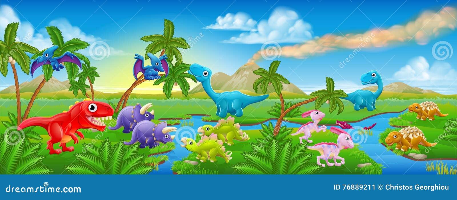 Paesaggio sveglio di scena del dinosauro del fumetto