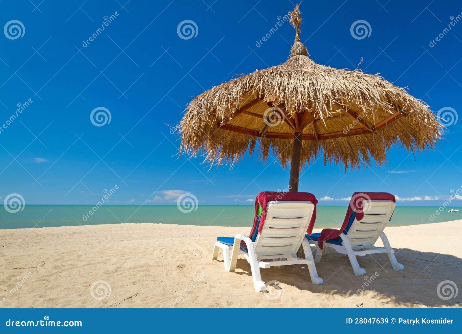 Paesaggio tropicale della spiaggia con i parasoli immagine for Disegni della casa sulla spiaggia