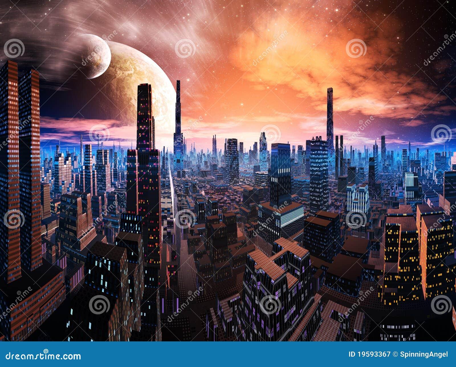 Paesaggio urbano al neon di Lit sul mondo distante