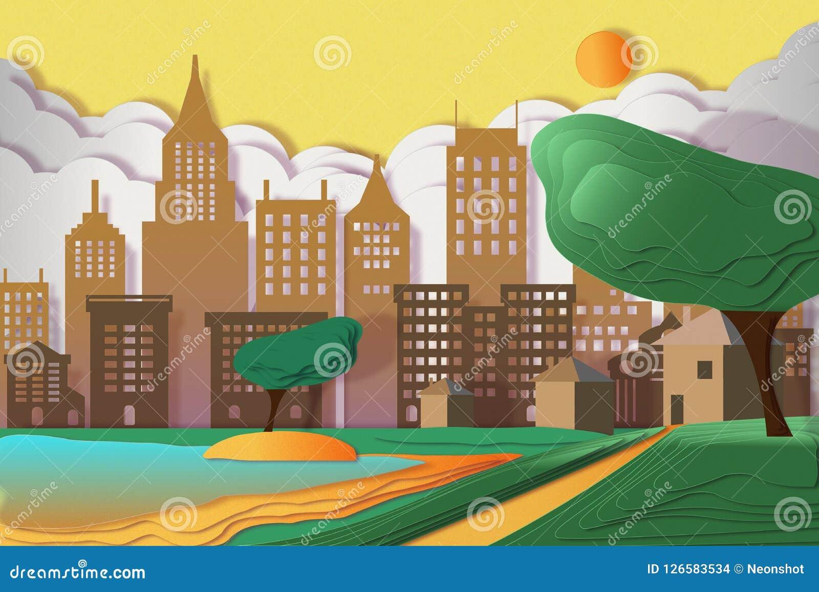 Paesaggio urbano con i grattacieli, le nuvole e gli alberi Illustrazione di Stock
