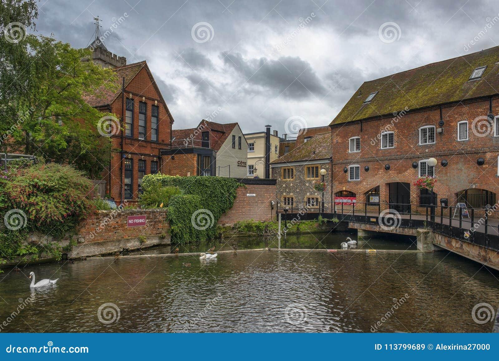 Paesaggio urbano con il fiume Avon a Salisbury, Inghilterra