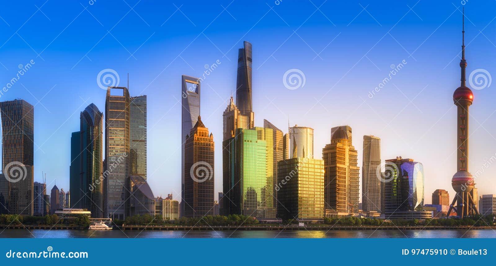 Paesaggio urbano dell orizzonte di Shanghai