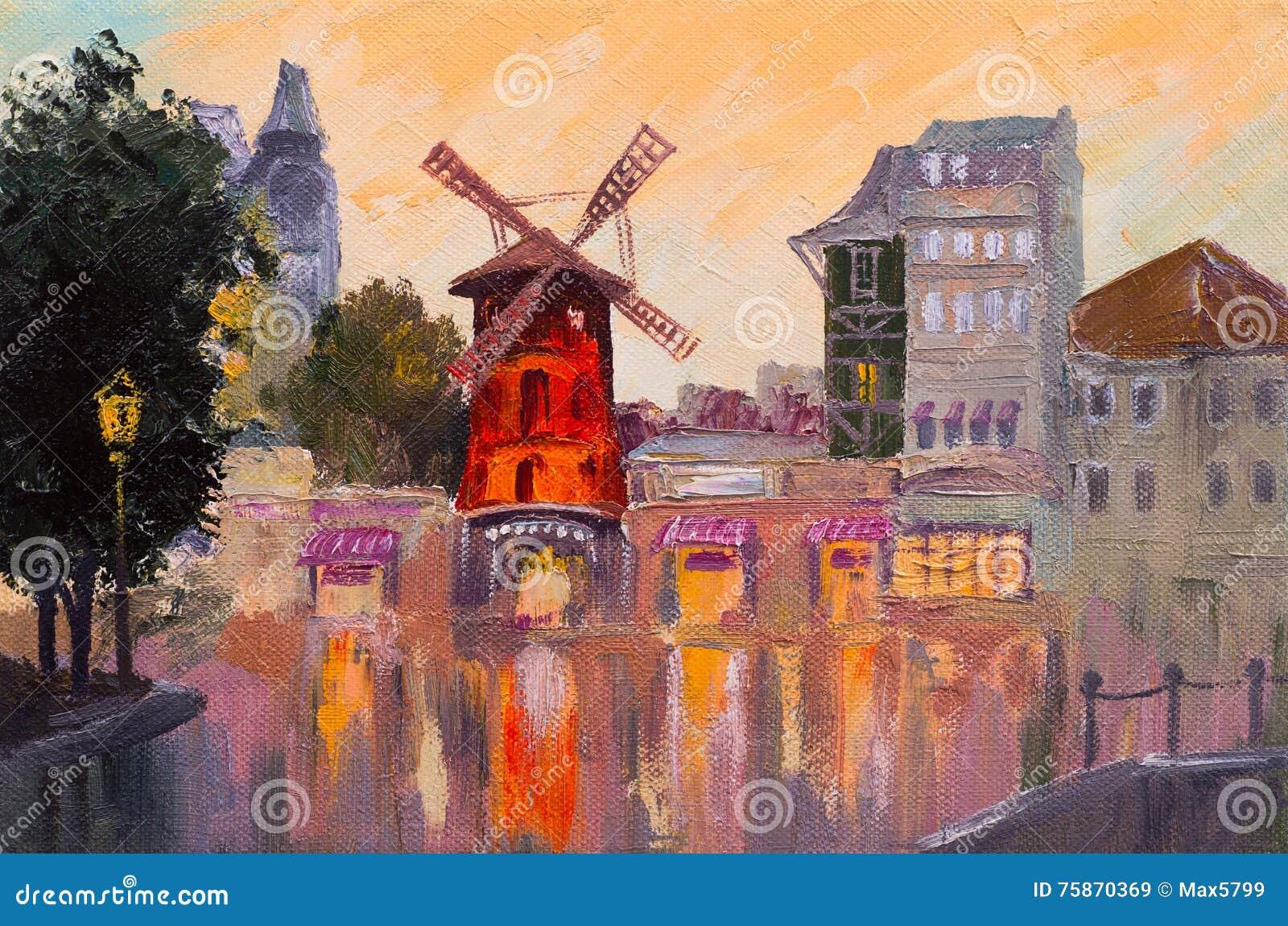 Paesaggio urbano della pittura a olio - Moulin Rouge, Parigi, Francia colorful