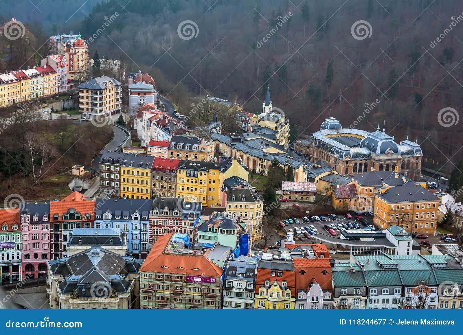 Paesaggio urbano di Karlovy Vary, repubblica Ceca