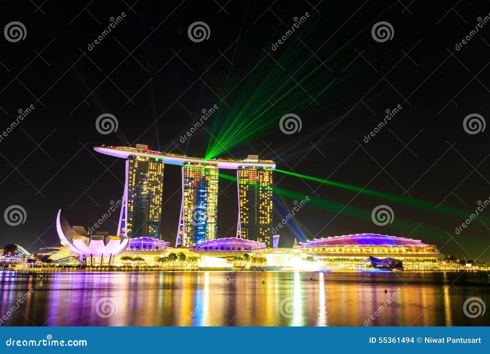 Paesaggio urbano di Singapore alla notte, Singapore - 17 gennaio 2015