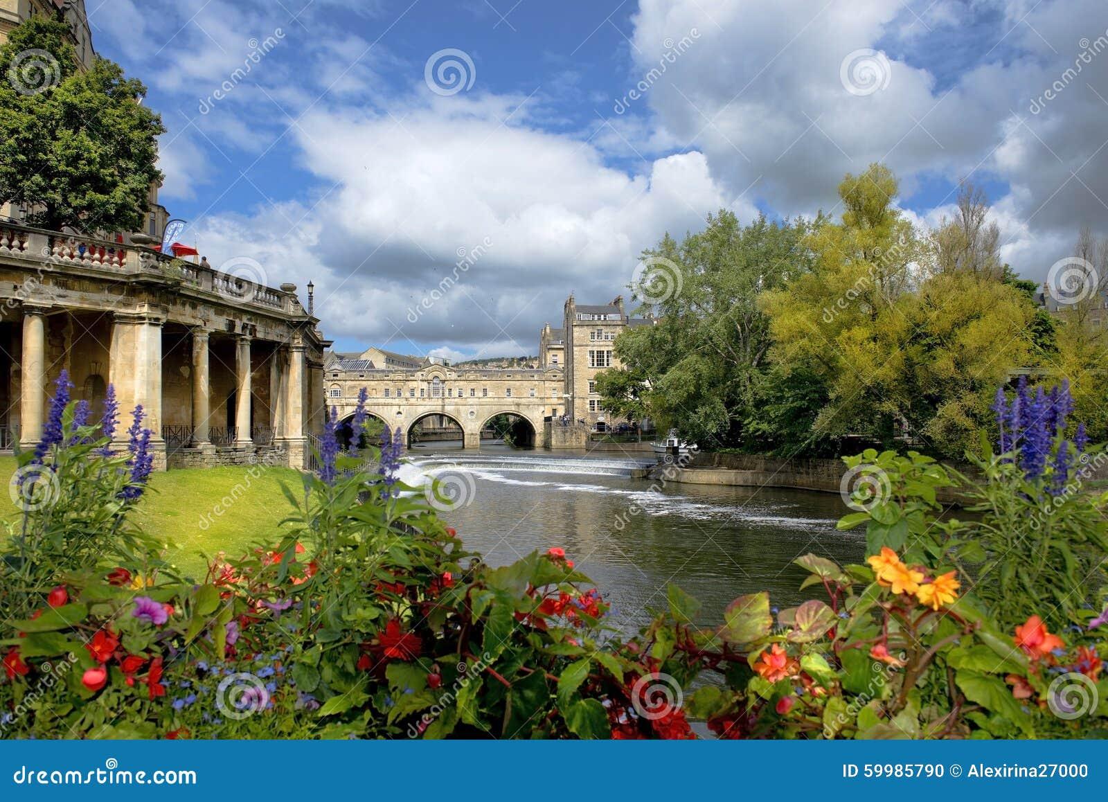 Paesaggio urbano nel bagno medievale della città, Somerset, Inghilterra