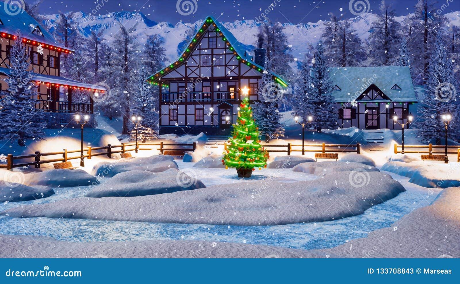 Case Di Montagna A Natale : Paesino di montagna alpino di snowy alla notte di natale