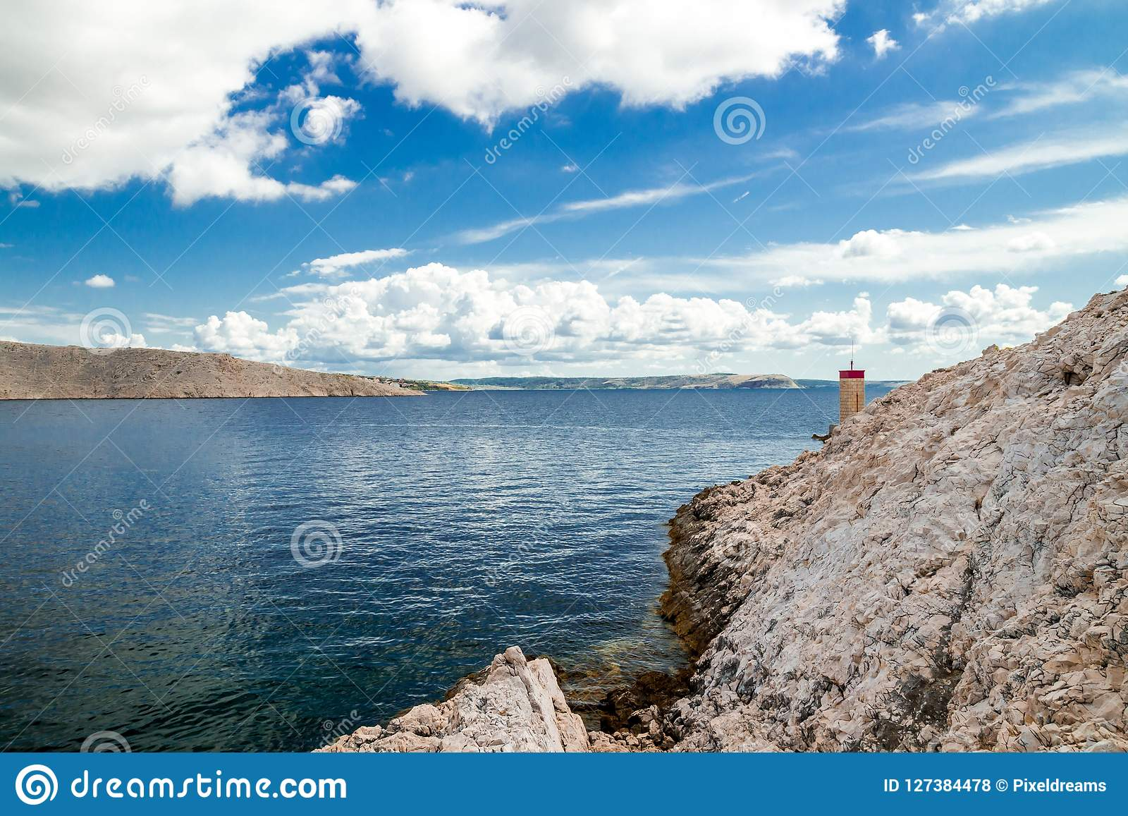 Pag island and summer clouds, Croatia